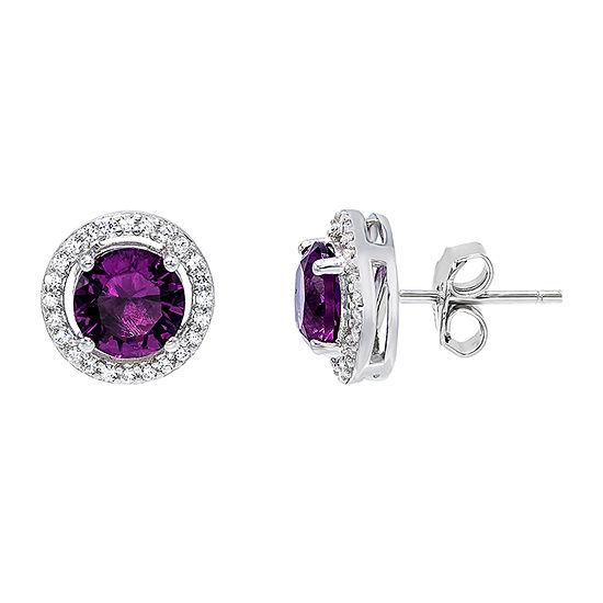 Diamonart 2 CT. T.W. Purple Cubic Zirconia Sterling Silver 1/2 Inch Stud Earrings