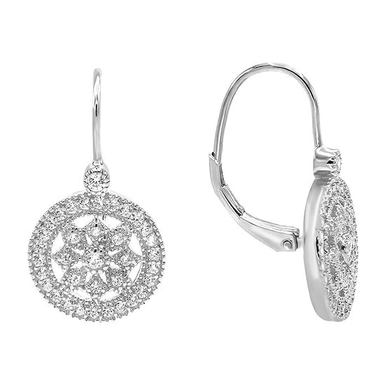 Diamonart 1 CT. T.W. White Cubic Zirconia Sterling Silver Drop Earrings
