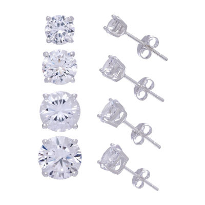 Diamonart 4 Pair White Cubic Zirconia Sterling Silver Round Earring Set