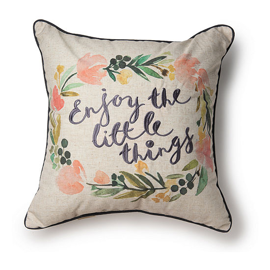 Enjoy The Little Things Square Throw Pillow