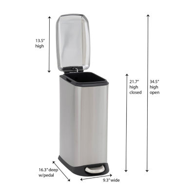 Household Essentials Capri Stainless Steel 20L Narrow Step Bin