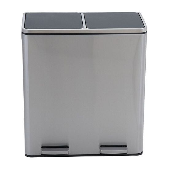Household Essentials Maxwell Stainless Steel 30L-30L Dual Compartment Recycle Step Bin