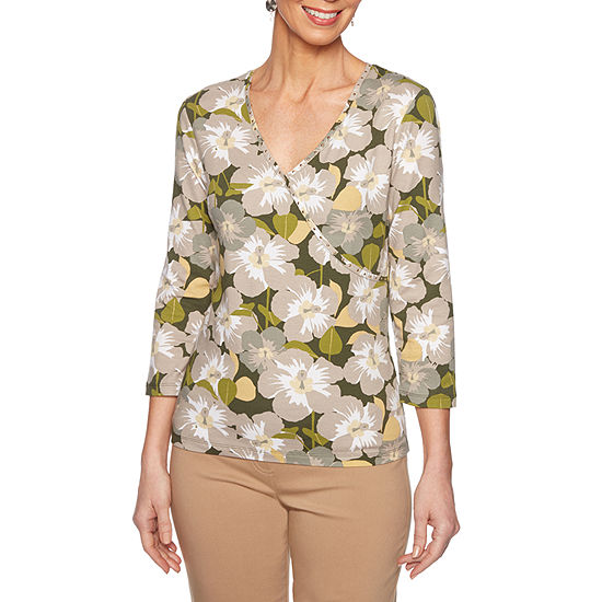 Lark Lane Must Haves Ii Womens V Neck 3/4 Sleeve Knit Embellished Blouse