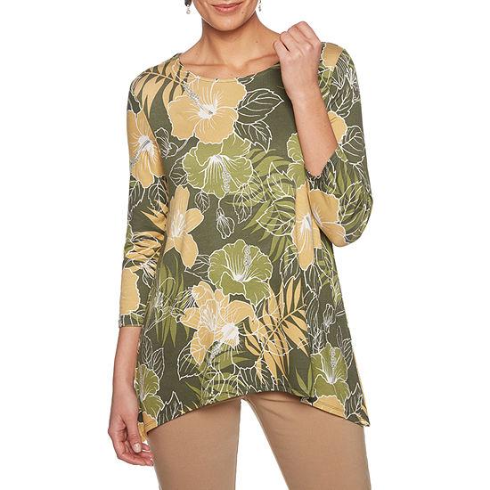 Lark Lane Must Haves Ii Womens Scoop Neck 3/4 Sleeve Tunic Top