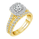 Womens 2 CT. T.W. Genuine White Diamond 10K Gold Halo Bridal Set