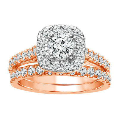 Womens 2 CT. T.W. Genuine White Diamond 10K Rose Gold Halo Bridal Set
