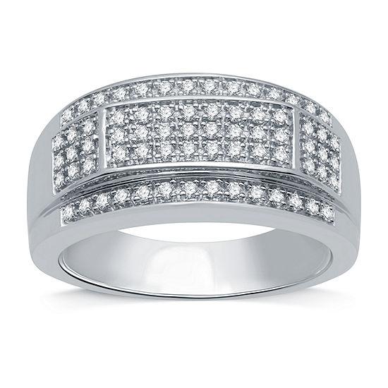 Mens 1/2 CT. T.W. Genuine Diamond 10K White Gold Fashion Ring