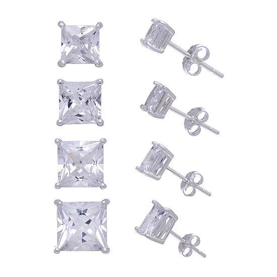 Diamonart White Cubic Zirconia Sterling Silver Square 4 Pair Earring Set
