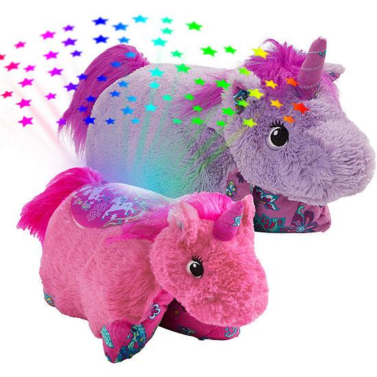 Lavender Unicorn Pillow Pet and Pink Unicorn Sleeptime Lite Slumber Pack