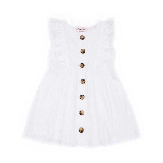Little Lass Toddler Girls Sleeveless Eyelet A-Line Dress