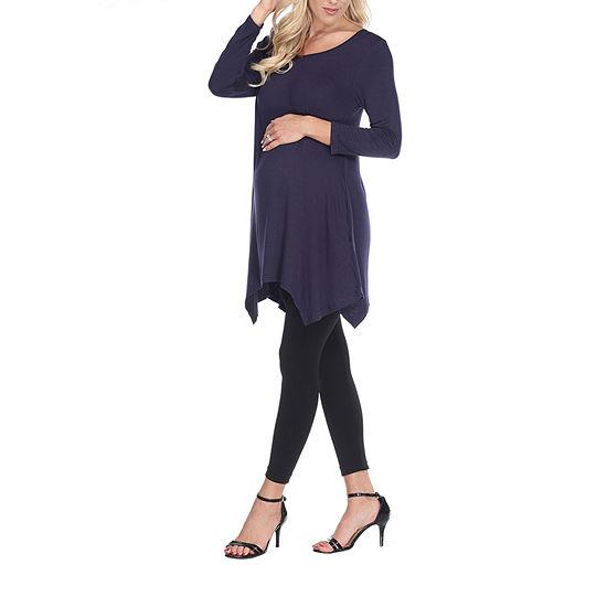 White Mark-Maternity Kayla Womens Scoop Neck 3/4 Sleeve Tunic Top