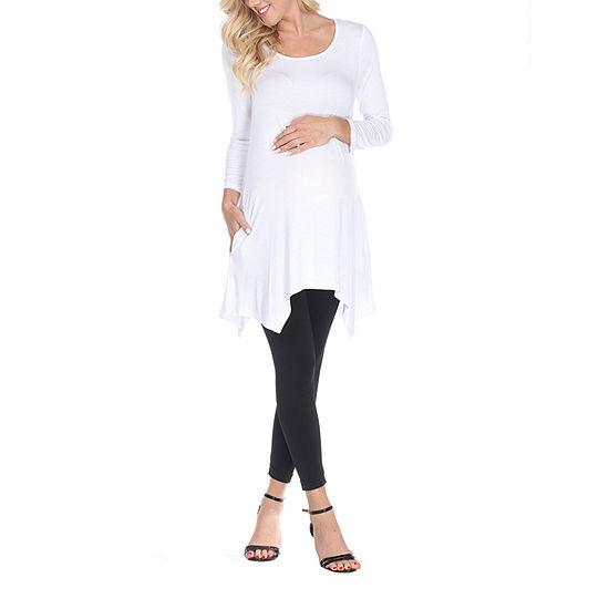 White Mark-Plus Maternity Kayla Womens Scoop Neck 3/4 Sleeve Tunic Top