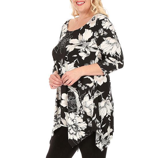 White Mark-Plus Womens Scoop Neck 3/4 Sleeve Tunic Top
