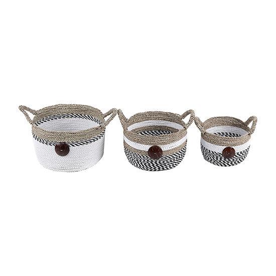 Baum Seagrass Coco Button Basket