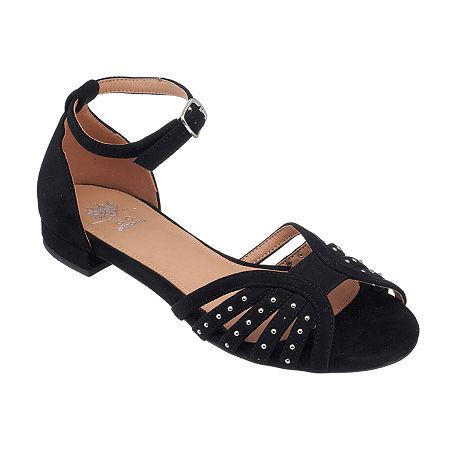 1940s Style Shoes, 40s Shoes, Heels, Boots GC Shoes Womens Mink Ankle Strap Flat Sandals 10 Medium Black $22.49 AT vintagedancer.com