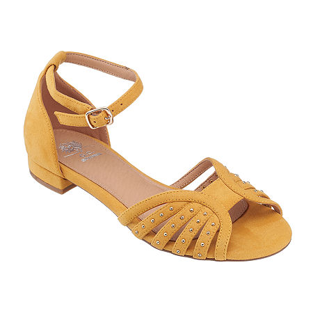 1950s Style Shoes | Heels, Flats, Boots GC Shoes Womens Mink Ankle Strap Flat Sandals 7 12 Medium Yellow $22.49 AT vintagedancer.com