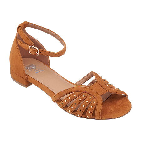 GC Shoes Womens Mink Ankle Strap Flat Sandals, 9 1/2 Medium, Brown