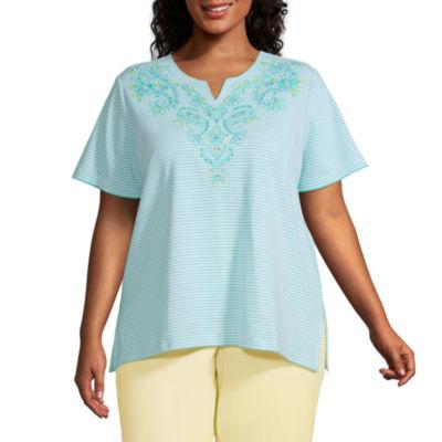 Alfred Dunner Spring Lake Womens Plus Split Crew Neck Short Sleeve T-Shirt