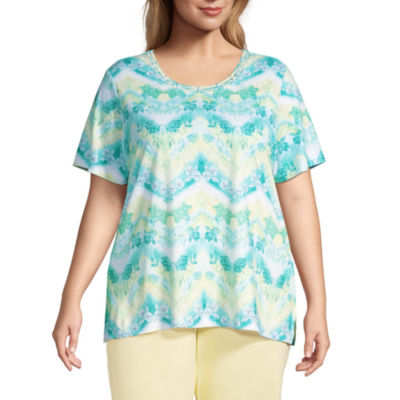 Alfred Dunner Spring Lake Womens Plus Round Neck Short Sleeve T-Shirt