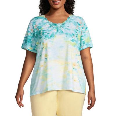 Alfred Dunner Spring Lake Womens Plus Crew Neck Short Sleeve T-Shirt
