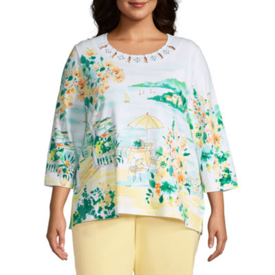 Alfred Dunner Spring Lake Womens Plus Crew Neck 3/4 Sleeve T-Shirt
