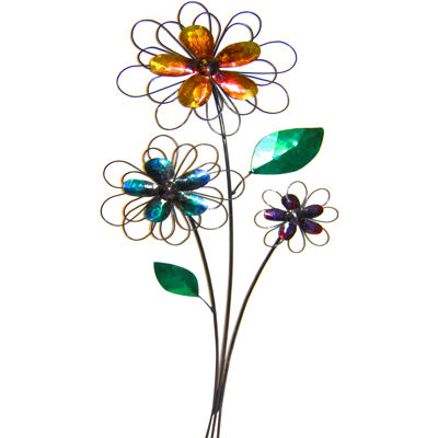 Freestanding Floral Metal Wall Decor