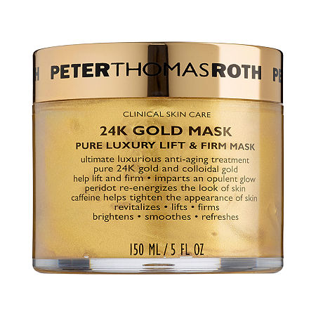 What it is:An ultimate luxurious antiaging treatment featuring 24K gold and colloidal gold.What it is formulated to do:This lavish, pampering treatment helps to improve the appearance of fine lines and wrinkles for a youthful-looking complexion. Caffeine helps tighten and firm the look of skin while peridotan exquisite gemstone rich in magnesiumre-energizes and helps reduce the aging effects of stress. The 24K gold imparts an opulent, radiant glow and locks in moisture for ultra-hydrated skin.What else you need to know:Recommended for all skin types, this mask is alcohol- and oil-free.Suggested Usage:-Apply a very generous, non-transparent layer to clean skin, thoroughly covering entire face.-Allow to remain on for five to 10 minutes.-Rinse thoroughly with warm water.-Use two to three times a week or as desired.Precautions:-For external use only.Size5 ozIngredients-24K Gold: Imparts an opulent, radiant glow; locks in moisture and keeps skin firm.-Colloidal Gold: Helps lift, firm, and restore lost elasticity.-Peridot: An ancient green gemstone rich in magnesium to help re-energize and minimize the aging effects of stress.Glycerin, Water, Sodium Hyaluronate, Caffeine, Olivine Extract, Colloidal Gold, Pentylene Glycol, Carbomer, Sodium Hydroxide, Potassium Sorbate, Sodium Benzoate, Sodium Metabisulfite, Mica, Phenoxyethanol, Gold (Ci 77480), Iron Oxides (Ci 77491), Titanium Dioxide (Ci 77891).