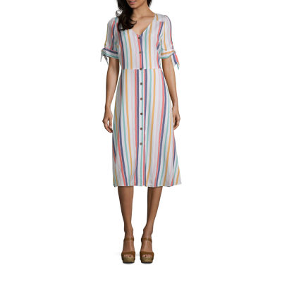 a.n.a Short Sleeve Button Front Midi Dress