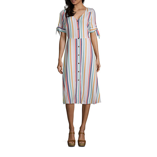0afb1e1cbc206 a.n.a Short Sleeve Button Front Midi Dress