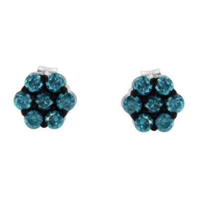 Color-Enhanced 1/2 CT. T.W. Genuine Blue Diamond 15mm Stud Earrings