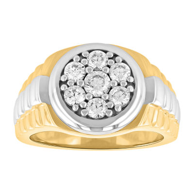 Mens Simulated Cubic Zirconia 14K Gold Over Silver Fashion Ring