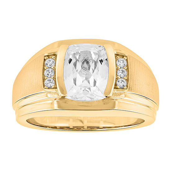 Mens Lab Created Sapphire 14K Gold Over Silver Fashion Ring