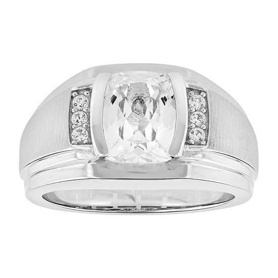 Mens Lab Created Sapphire Sterling Silver Fashion Ring