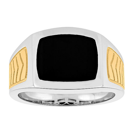 Mens Genuine Black Onyx 14K Gold Over Silver Fashion Ring