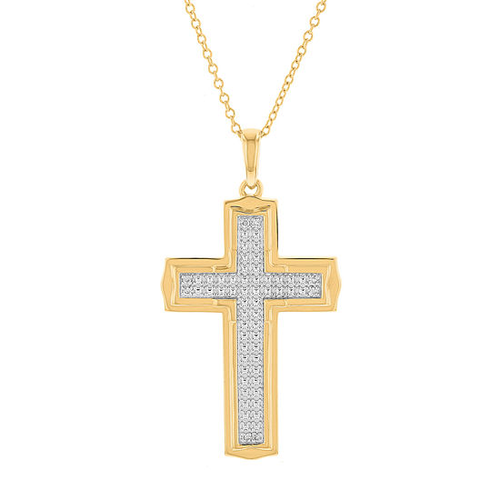 Mens Genuine White Diamond 10K Gold Cross Pendant