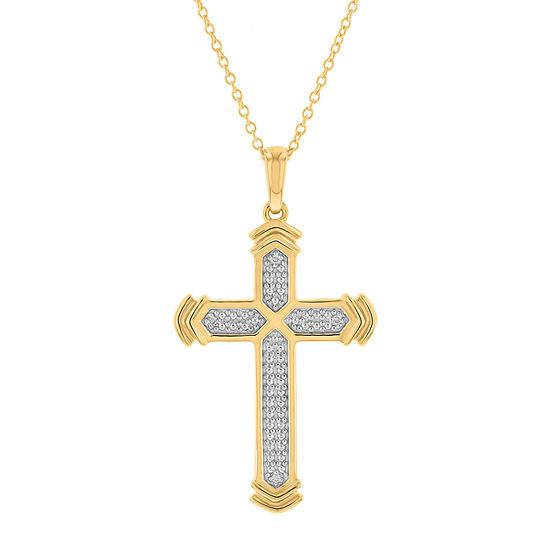 Mens Genuine White Diamond 10K Gold Cross Pendant