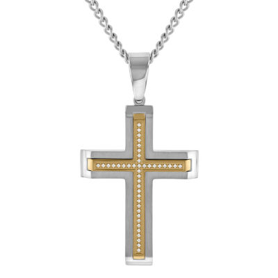 Mens Simulated White Cubic Zirconia Cross Pendant