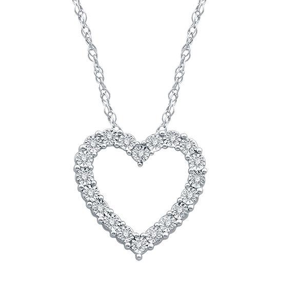Womens 1/10 CT. T.W. Genuine Diamond Sterling Silver Heart Pendant Necklace