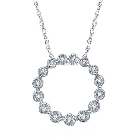 Womens 1 10 Ct Tw Genuine Diamond Sterling Silver Pendant Necklace