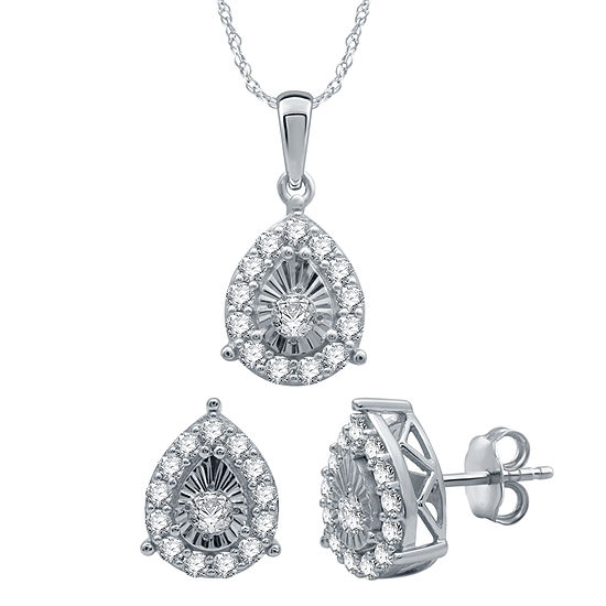 1 Ct Tw Genuine White Diamond Sterling Silver Pear 2 Pc Jewelry Set