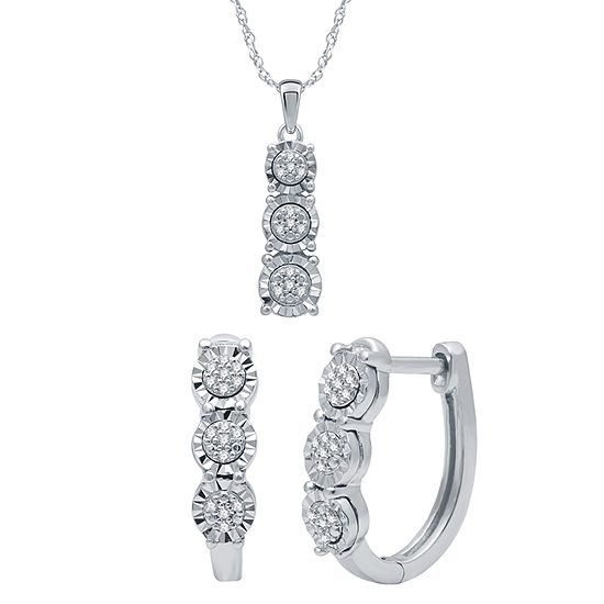 1/6 CT. T.W. Genuine Diamond Sterling Silver 2-pc. Jewelry Set