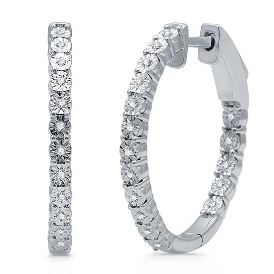 1/10 CT. T.W. Genuine Diamond Sterling Silver 22.6mm Hoop Earrings