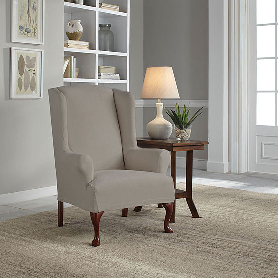 Serta Reversible Microsuede Stretch Fit Wing Chair Slipcover