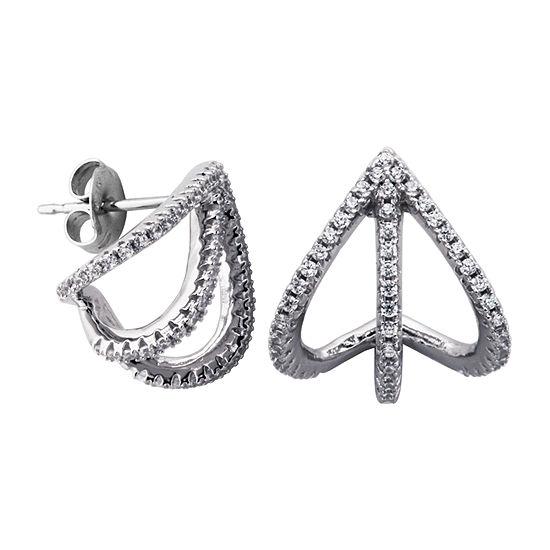 1/2 CT. T.W. White Cubic Zirconia Sterling Silver 14mm Hoop Earrings