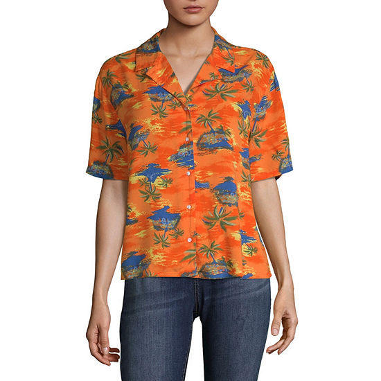 Arizona Womens Short Sleeve Button-Front Shirt-Juniors