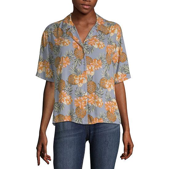 Arizona Short Sleeve Button-Front Shirt- Juniors