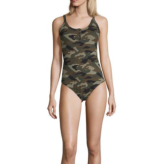 Arizona Womens Henley Neck Sleeveless Bodysuit-Juniors Plus