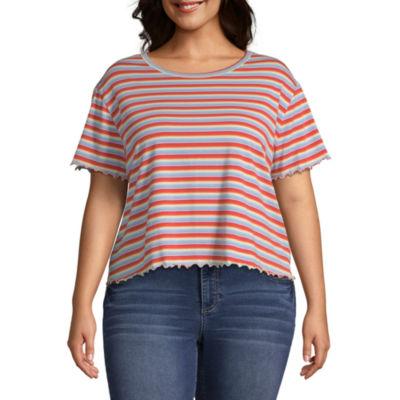 Arizona-Womens Crew Neck Short Sleeve T-Shirt Juniors Plus