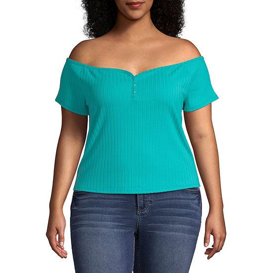Arizona-Womens Straight Neck Short Sleeve T-Shirt Juniors Plus