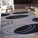 World Rug Gallery Cozy Shag Modern Circles Abstract Rectangular Indoor Rugs